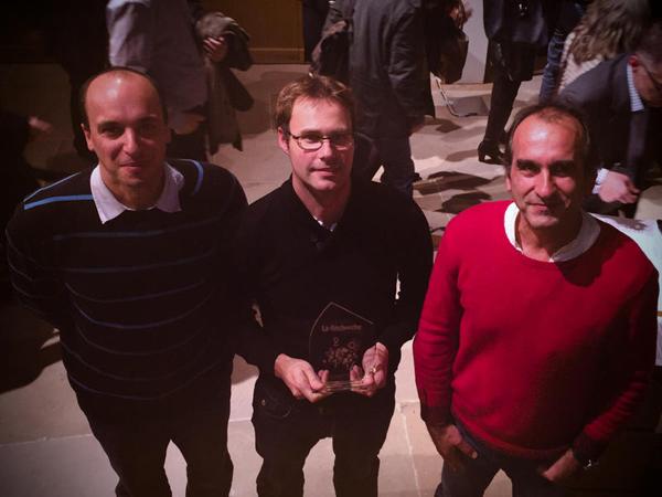 De g. à d. : Pierre Bonnet (Cirad), Alexis Joly (Inria) et Jean-François Molino (IRD), lauréats du prix de La Recherche 2016 - mention « Coup de coeur » © Pl@ntNet / Rémi Knaff