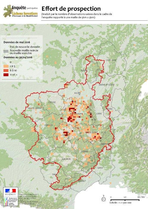 Carte du périmètre de l'enquête et état d'avancement des prospections
