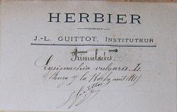 Etiquette de l'Herbier Guittot