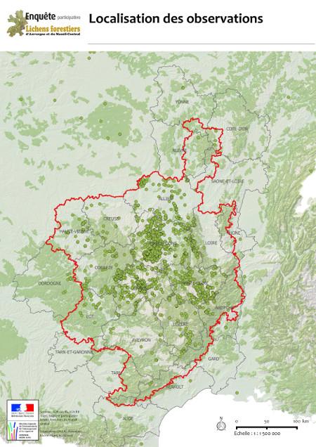 carte de localisation des données collectées durant l'enquête (source DREAL Auvergne - Rhône - Alpes)