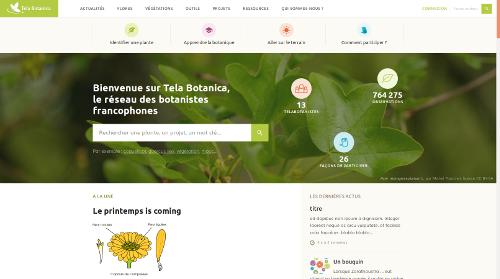 Page d'accueil du site Internet de Tela Botanica - CC BY-SA Tela Botanica