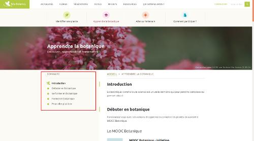 """Page thématique """"Apprendre la botanique"""" du site Internet de Tela Botanica - CC BY-SA Tela Botanica"""