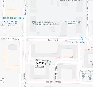 Plan d'accès au Square Oxford, Montpellier (34)