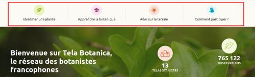 Grands thèmes de la page d'accueil du site Internet de Tela Botanica - CC BY-SA Tela Botanica