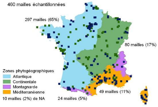 Carte des mailles échantillonnées en 2012 (en bleu) et entre 2009 et 2011 (vert) par zones phytogéographiques