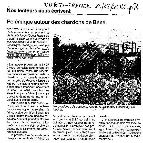 Ouest-France : Polémique autour des chardons de Bener.