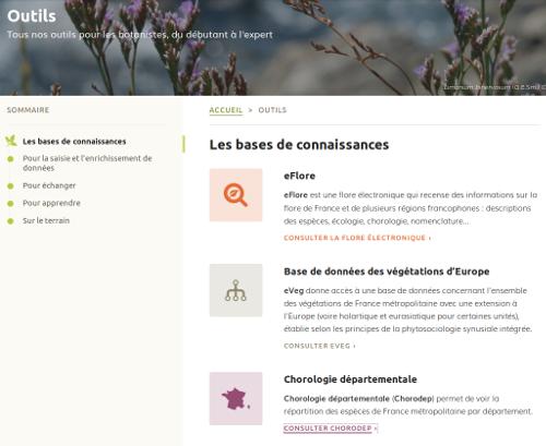 """Page Outils, section """"Les bases de connaissances"""" sur le site Internet de Tela Botanica - CC BY-SA Tela Botanica"""