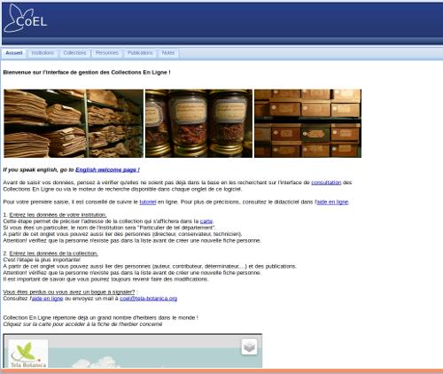 Page principale d'ajout de collections - CC BY-SA Tela Botanica