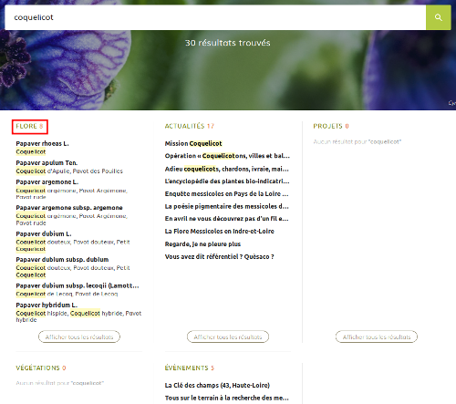"""Page résultats de la recherche """"Coquelicot"""" sur le site Internet de Tela Botanica - CC BY-SA Tela Botanica"""