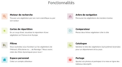 """Page eVeg,  partie """"Fonctionnalités"""", du site Internet de Tela Botanica - CC BY-SA Tela Botanica"""