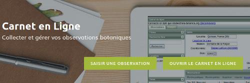 Page Outils du Carnet en Ligne sur le site Internet de Tela Botanica - CC BY-SA Tela Botanica