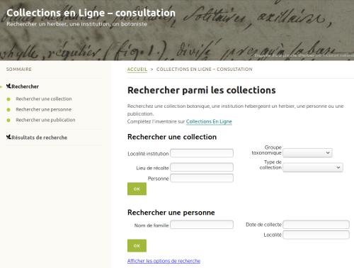 Page Collections en Ligne, sur le site Internet de Tela Botanica - CC BY-SA Tela Botanica