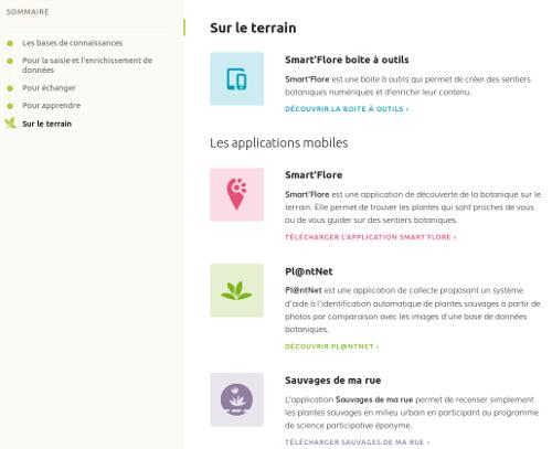 """Page Outils, section """"Sur le terrain"""" sur le site Internet de Tela Botanica - CC BY-SA Tela Botanica"""