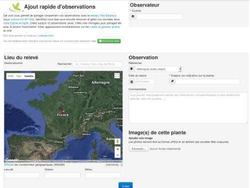 Page saisie simplifiée et rapide des observations, sur le site Internet de Tela Botanica - CC BY-SA Tela Botanica