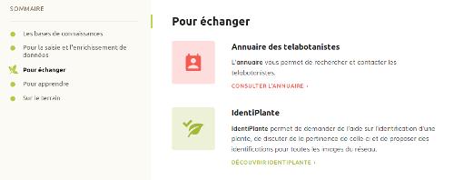 """Page Outils, section """"Pour échanger"""" sur le site Internet de Tela Botanica - CC BY-SA Tela Botanica"""