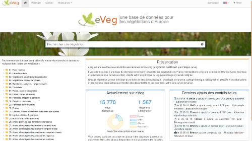Page d'accueil du site eVeg sur le site Internet de Tela Botanica - CC BY-SA Tela Botanica