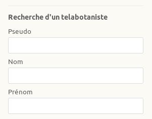 """Page Annuaire des telabotanistes, """"recherche d'un telabotaniste""""sur le site Internet de Tela Botanica - CC BY-SA Tela Botanica"""