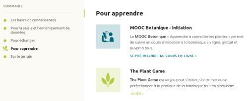 """Page Outils, section """"Pour apprendre"""" sur le site Internet de Tela Botanica - CC BY-SA Tela Botanica"""