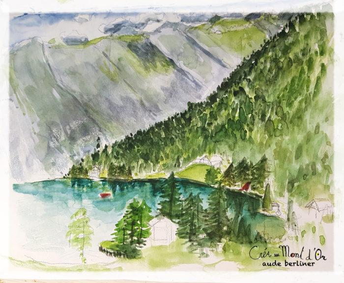 champex_lac_stage_croquis_dessin_aquarelle_nature_fleurs_forêt