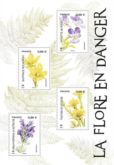 Bloc de timbres Flore en danger