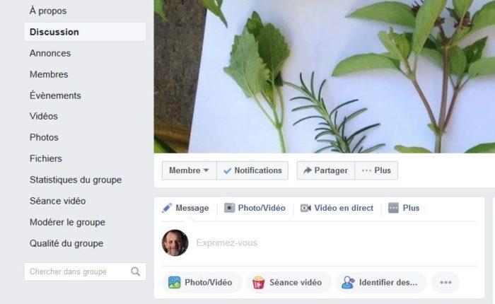 Capture d'écran d'un groupe Facebook de botanique