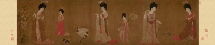 Zhou_Fang._Court_Ladies_Wearing_Flowered_Headdresses._(46x180)_Liaoning_Provincial_Museum,_Shenyang.