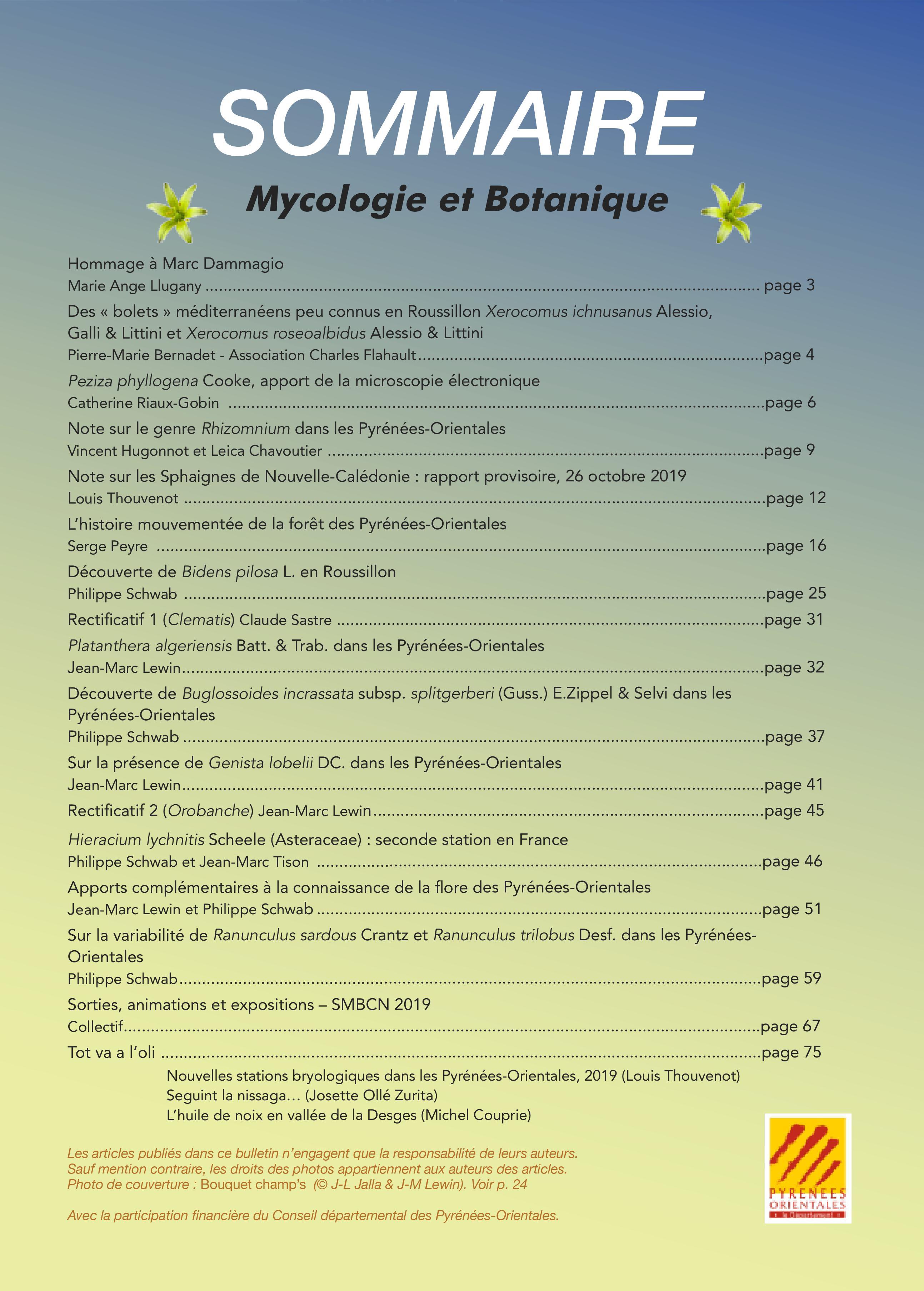 Sommaire Mycologie et botanique numéro 34