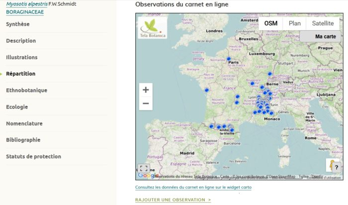 Aperçu de la carte des observations sur eFlore