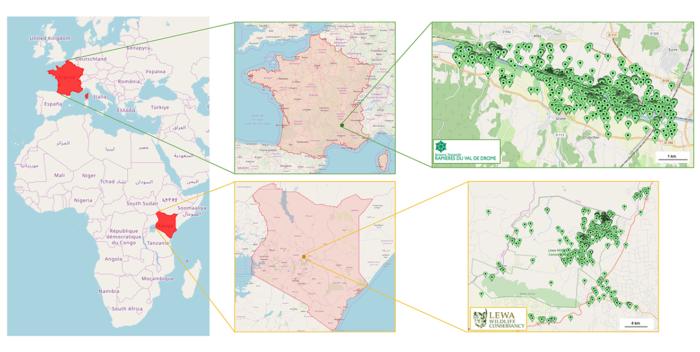 Carte de la réserve des Ramières (France) et du Conservatoire Lewa (Kenya)