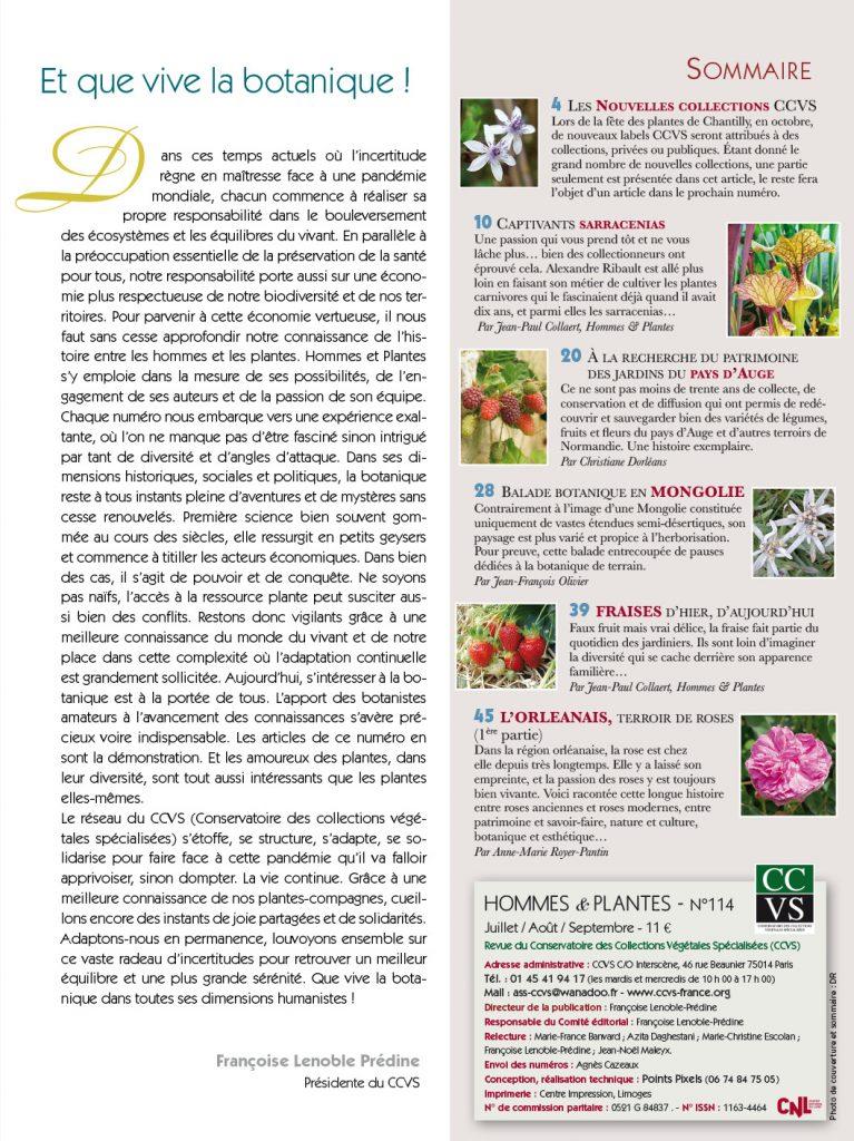 sommaire hommes et plantes 114