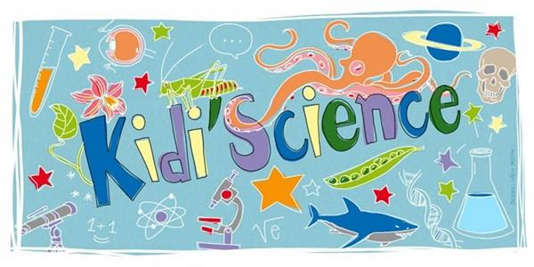 Bannière du blog de Kidi'Science. Présente plein d'animaux et du matériel scientifique.