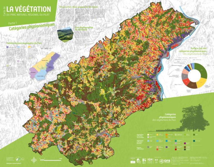 Carte de la végétation du PNR du Pilat