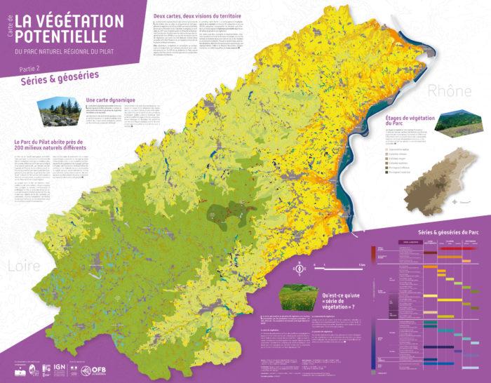 Carte de la végétation potentielle du PNR du Pilat