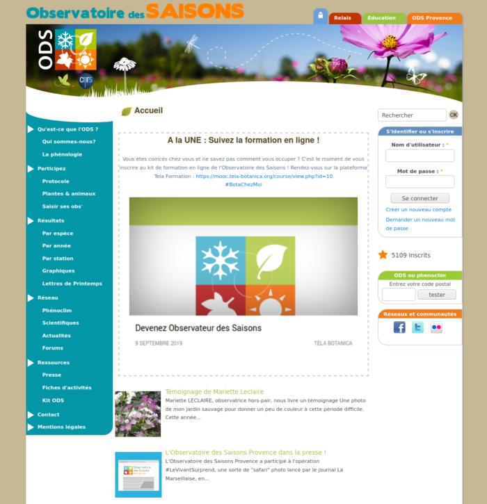 capture écran de l'ancien site de l'ODS