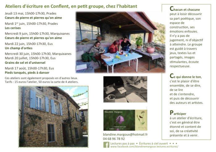 Ateliers sédentaires en Conflent - Affichette - À partir de mai 2021